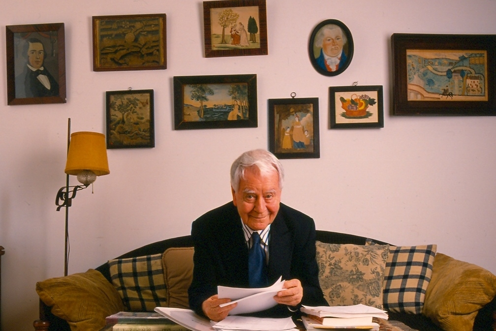 Horton Foote at his New York apartment with some of his collection of Americana, reproduced with the kind permission of the photographer, Jeanne Strongin