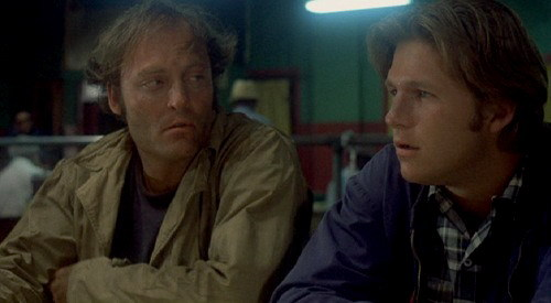 "Stacy Keach and Jeff Bridges killing time in ""Fat City"""