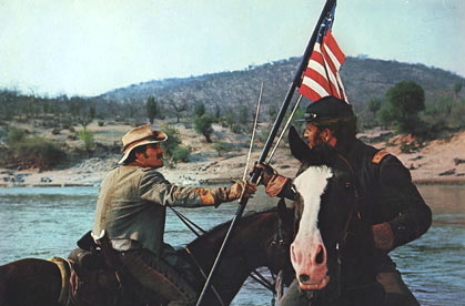 Richard Harris and Charlton Heston keep the flag aloft