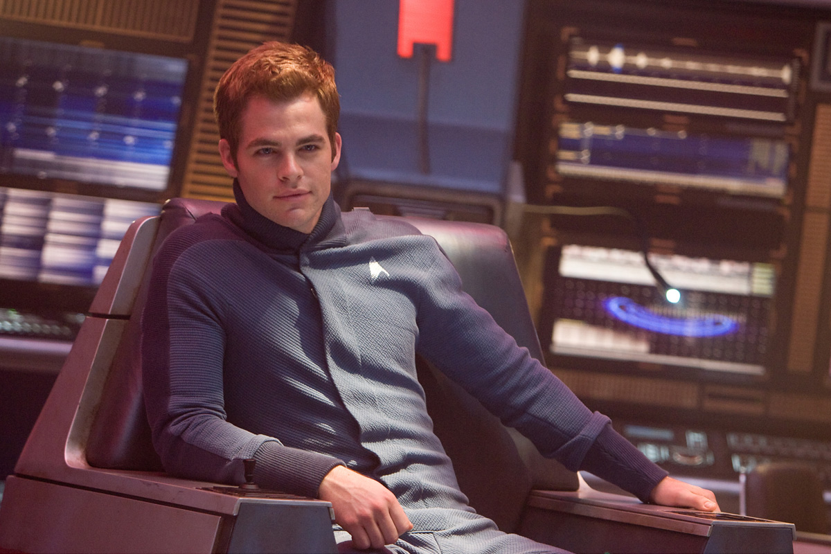 Chris Pine as Captain Kirk: back in the Captain's chair for the first time